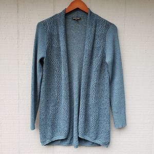 Eileen Fisher Open Knit Ribbed Cardigan Teal Small